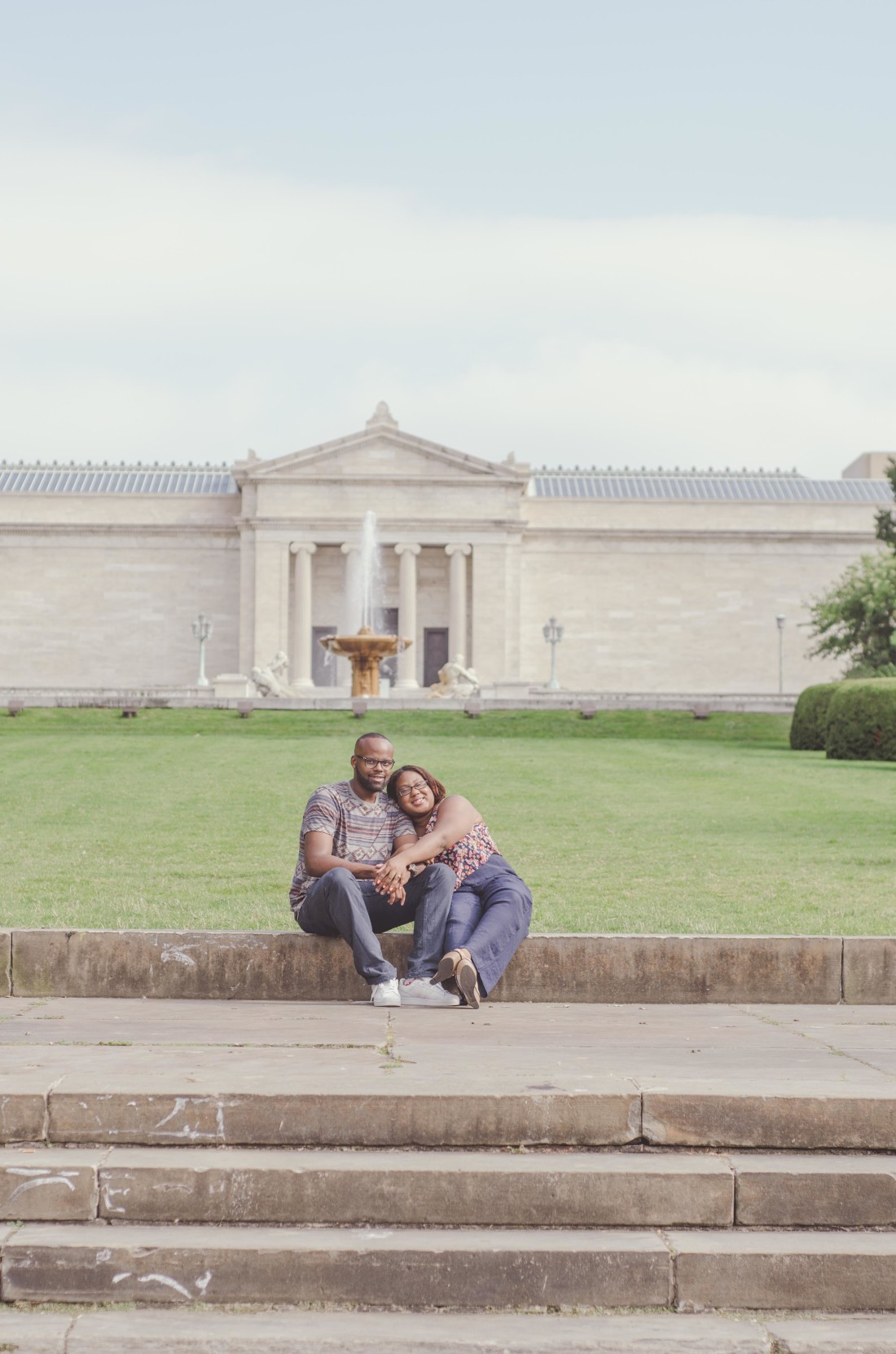 engagement photos at cleveland museum of art wade oval in cleveland ohio