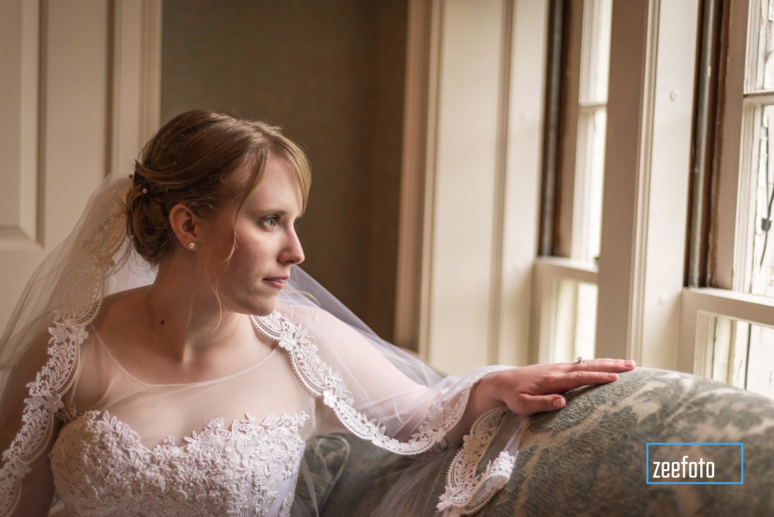 bridal portait at window