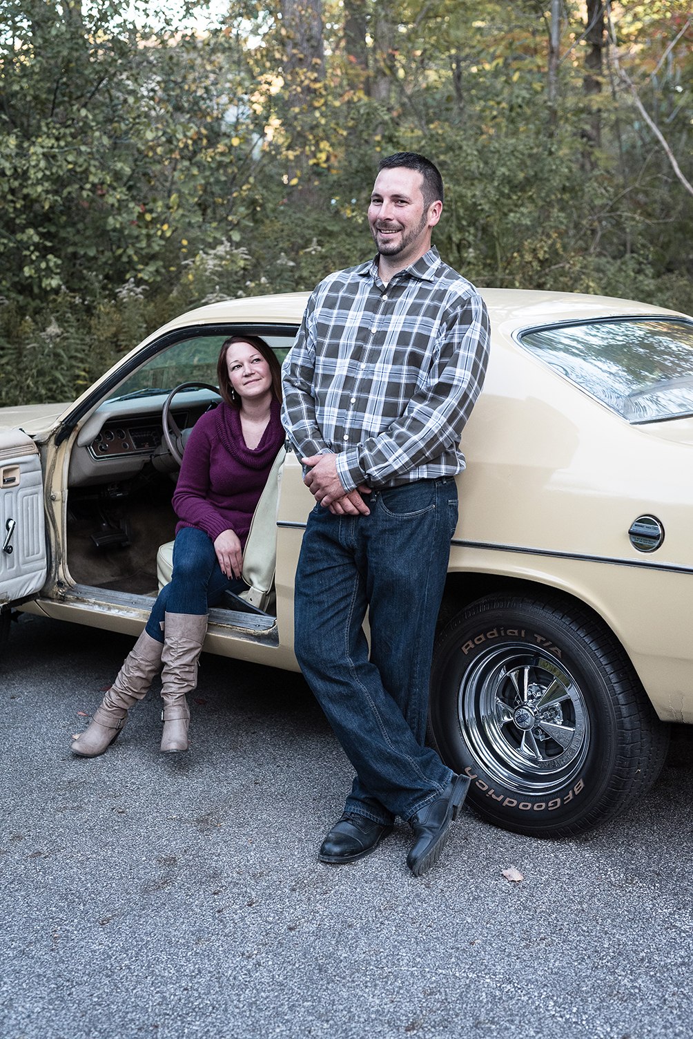 Engagement shoot with cool old car Cleveland Ohio