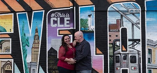 romantic downtown cleveland engagement photos